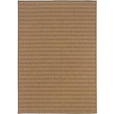 StyleHaven-Stripe Tan/ Light Tan Indoor/Outdoor Machine-made Polypropylene Area Rug (6'7