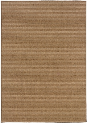 StyleHaven-Stripe Tan/ Light Tan Indoor/Outdoor Machine-made Polypropylene Area Rug (6'7