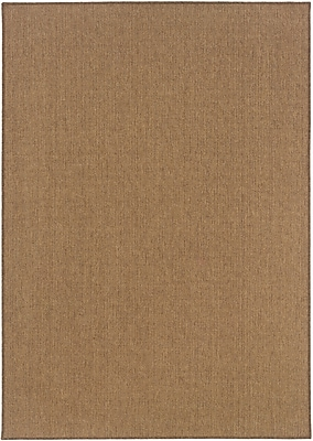 Solid Tan/ Indoor/Outdoor Machine-made Polypropylene Area Rug (5'3