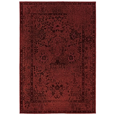 StyleHaven Overdyed Oriental Red/ Grey Indoor Machine-made Polypropylene Area Rug (6'7