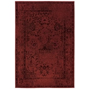 "Overdyed Oriental Red/ Grey Indoor Machine-made Polypropylene Area Rug (3'10"" X 5'5"")"