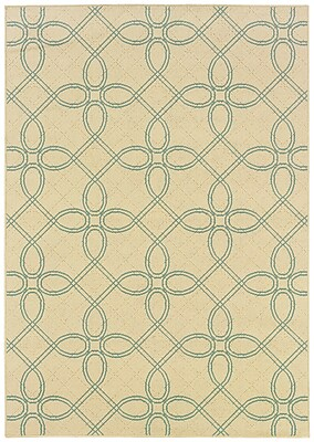 StyleHaven Geometric Ivory/ Blue Indoor/Outdoor Machine-made Polypropylene Area Rug (3'7