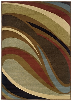 StyleHaven Abstract Brown/ Brown Indoor Machine-made Polypropylene Area Rug (6'7