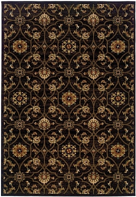 StyleHaven Floral Black/ Brown Indoor Machine-made Polypropylene Area Rug (6'7