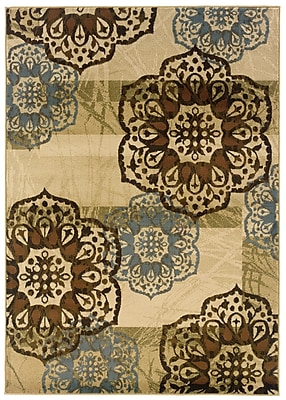 Floral Beige/ Blue Indoor Machine-made Polypropylene Area Rug (5'3