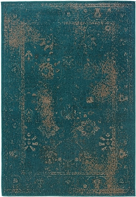 Overdyed Oriental Teal/ Beige Indoor Machine-made Polypropylene Area Rug (5'3