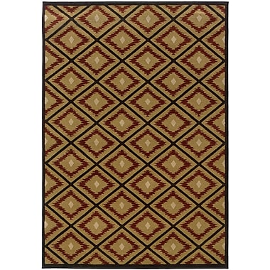 StyleHaven Geometric Ikat Gold/ Red Indoor Machine-made Polypropylene Area Rug (5'3