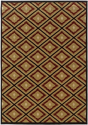 StyleHaven Geometric Ikat Gold/ Red Indoor Machine-made Polypropylene Area Rug (7'8