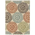 "Floral Beige/ Blue Indoor/Outdoor Machine-made Polypropylene Area Rug (5'3"" X 7'6"")"