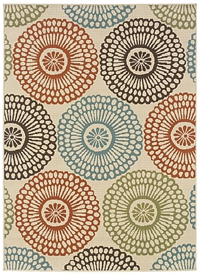 Floral Beige/ Blue Indoor/Outdoor Machine-made Polypropylene Area Rug (7'10