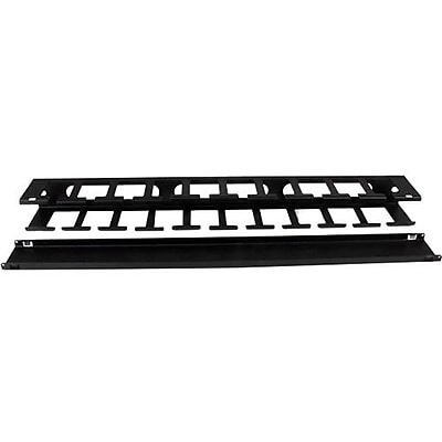 StarTech 1U Horizontal Finger Duct Rack Cable Management Panel With Cover, Black