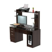 Inval America Standard Credenza/Computer Workcenter with Hutch, Espresso Wengue (CC4301)