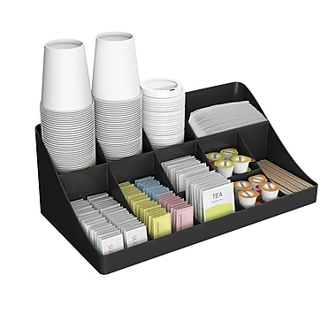 Mind Reader 13-Compartment Breakroom Condiment Organizer, Black
