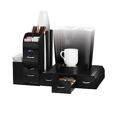 Mind Reader Combine 2 Piece Coffee and Accessory Station, Black