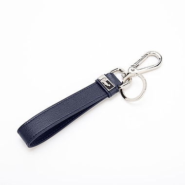 Royce Leather Luxury Key Ring Organizer, Blue, Silver Foil Stamping, Full Name