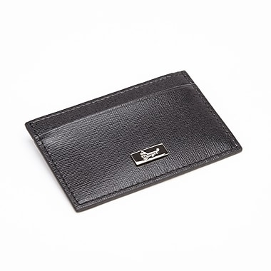 Royce Leather RFID Blocking Card Wallet, Black, Silver Foil Stamping, Full Name