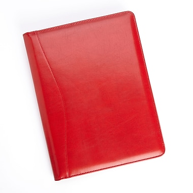 Royce Leather Executive Writing Padfolio, Red, Silver Foil Stamping, 3 Initials