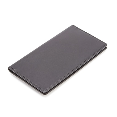 Royce Leather RFID Blocking Checkbook Cover, Black, Silver Foil Stamping, 3 Initials