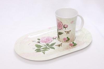 Shall Housewares Rose 2 Piece Melamine Serving Platter Set