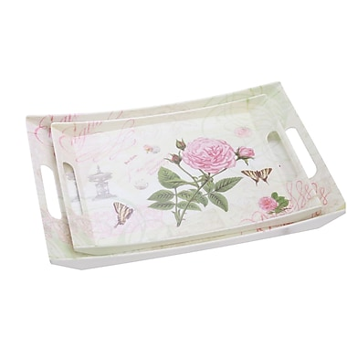 Shall Housewares Rose 2 Piece Double Handle Serving Tray Set