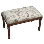 123 Creations Equestrian Upholstered and Wood Bench
