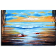 Omax Decor Dinghies at Shore' Painting on Wrapped Canvas