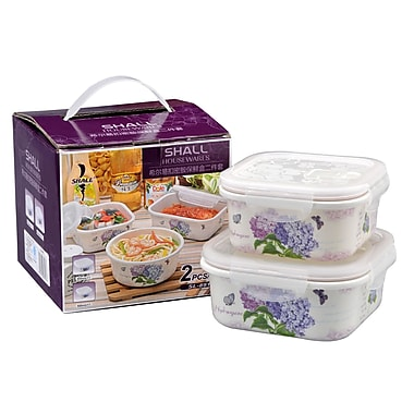 Shall Housewares Hydrangea Melamine 2 Container Food Storage Set