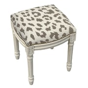 123 Creations Animal Print Cheetah Linen Upholstered Vanity Stool; Smoky Gray