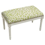 123 Creations Animal Print Upholstered and Wood Bench; Chartreuse