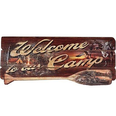 River's Edge Products Camp Welcome Wood Sign Vintage advertisement
