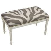 123 Creations Animal Print Upholstered and Wood Bench; Smoky Gray