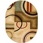 Well Woven Barclay Ivory/Natural Arcs and Shapes Modern Area Rug; Oval 5'3'' x 6'10''