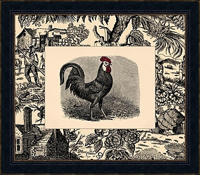 Melissa Van Hise Toile Roosters IV Framed Graphic Art