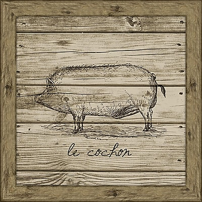Melissa Van Hise Hog (Wood Planks) Framed Graphic Art
