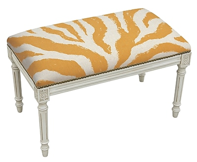 123 Creations Animal Print Upholstered and Wood Bench; Orange