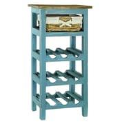 Antique Revival Monet 9 Bottle Floor Wine Rack; Blue