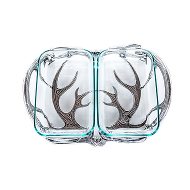 Arthur Court Antler 2-qt. Rectangular Divided Serving Dish