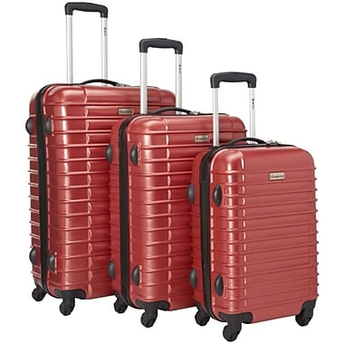 McBRINE Light Weight Polycarbonate 3 Piece Luggage Set, Red