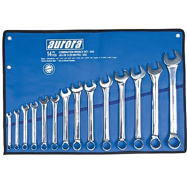 Aurora Tools Combination Wrench Set, S.A.E., 14-Piece