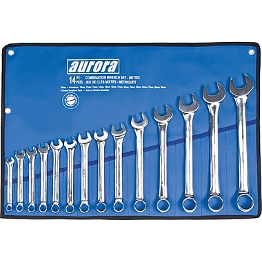 Aurora Tools Combination Wrench Set, Metric, 14-Piece