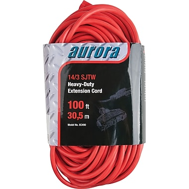 Aurora Tools Outdoor Vinyl Triple Tap Extension Cords, Heavy-Duty, 100'