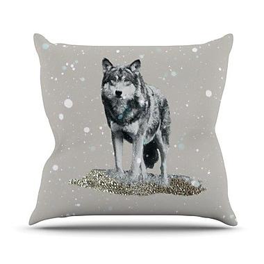 KESS InHouse Wolf Outdoor Throw Pillow; 16'' H x 16'' W x 3'' D
