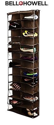 Bell+Howell Over the Door Shoe Organizer, 26 pairs- Brown