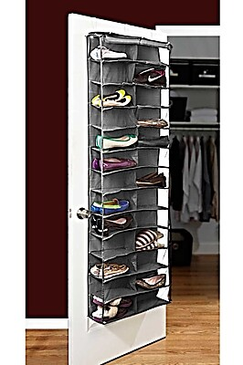 Bell+Howell Over the Door Shoe Organizer, 26 pairs- Grey