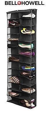 Bell+Howell Over the Door Shoe Organizer, 26 pairs- Black