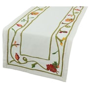 Xia Home Fashions Harvest Vine Crewel Embroidered Table Runner