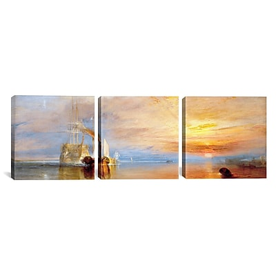 iCanvas Fighting Temeraire by J.M.W Turner 3 Piece Painting Print on Wrapped Canvas Set