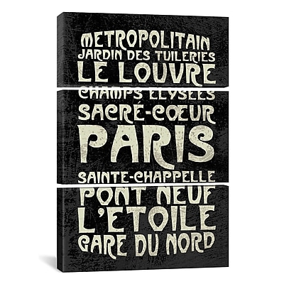 iCanvas Erin Clark Paris 3 Piece Textual Art on Wrapped Canvas Set; 90'' H x 60'' W x 1.5'' D