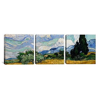 iCanvas Wheatfield w/ Cypresses by Vincent van Gogh 3 Piece Painting Print on Wrapped Canvas Set
