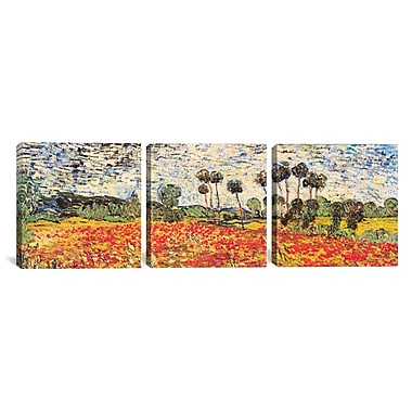 iCanvas Field of Poppies by Vincent van Gogh 3 Piece Painting Print on Wrapped Canvas Set